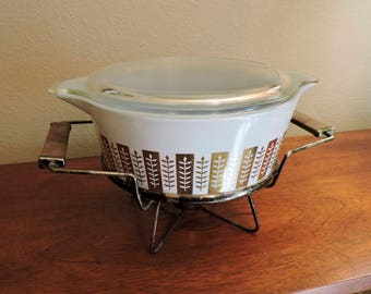 Vintage Mid Century Modern Light Blue Pyrex Casserole with lid and stand Delphite Blue Gold Gourmet Pattern MCM