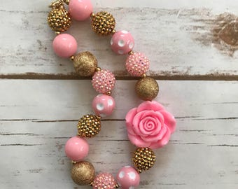 Rose gold and pink Chunky Necklace