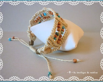 costume jewelry: macrame hippie bracelet, string and various beads