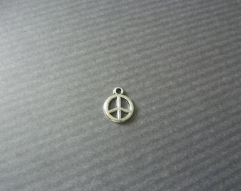 "Peace/PENDANT/charm in Tibetan silver 1.35 CM 10 MEDALLIONS ""PEACE"" sign"