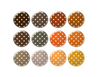 Digital bottle cap images - Brown and orange polka dot images - 12 mm to 18 mm circles - Bottle cap jewelry patterns - Digital images
