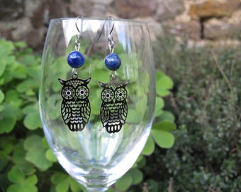 Earrings ' owls earrings and lapis lazuli