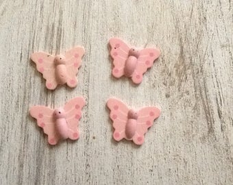 "Wooden pink ""Butterfly"" embellishment"