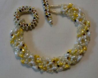 "Handmade Beaded Spiral Bracelet-""Bumble Bee"""
