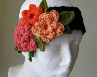Knit Headband with flowers Girl's Head Warmer Ear Warmer for Girl Black Headband Orange Crochet Flowers Hand Knit Girl's Headbands Chic Gift
