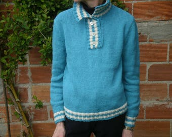 Turquoise and white trucker style sweater