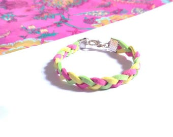 4-7 years old girl bracelet braided suede bright colors