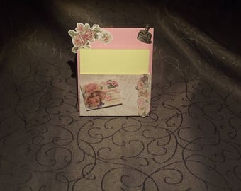 Door Notepad, pastel pink, made in scrapbooking