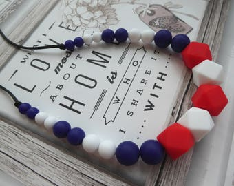 Red White Blue Baby Silicone Teether Necklace Baby Teething Nursing necklace Sensory necklace Chewelry Baby safe Jewelry Breastfeeding