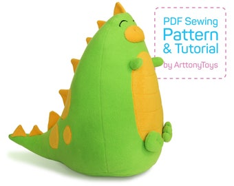 Fatty Dino sewing pattern PDF, soft dinosaur template for sewing