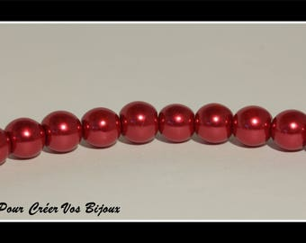 Set of 25 8mm red glass beads