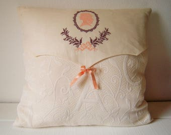 Embroidery cameo, romantic Cushion cover
