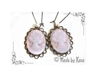 Lady cameo Rose romantic Vintage Vintage Cabochon earrings