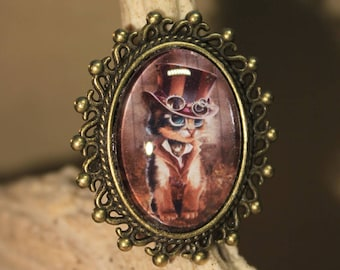 "Oval Ring ""steampunk cat"" fantasy, retro, steampunk"