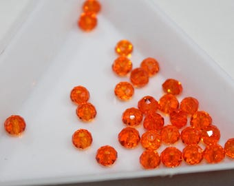 x 10 beads faceted round PR06 - 4mm - Orange - Crystal from Austria