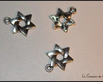 x 1 charm star Six branches - Christmas Christmas Xmas - silver