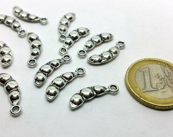 Charm 1 X - Small dots vegetables food - silver metal