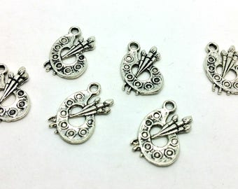 "x 1 ""- painting - painter artist Palette"" charm in silver"
