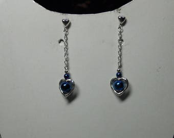 Earrings heart bead blue hematite night