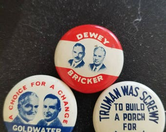 Collection of Election pins, Dewey and Bricker, Goldwater and Miller