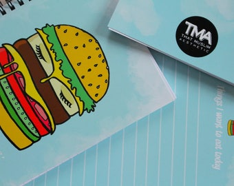Niqaab Foodie- A5 Notebook (Lined) Islamic Inspired Burger Blue