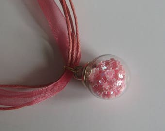 Necklace glass globe with starry sequins and organza rose