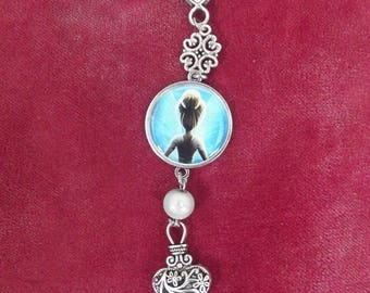 Keychain in silver with print fairy on a blue plastic cabochon bead magic acrylic white and silver charms