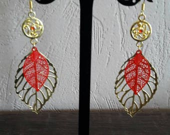 Red and gold filigree leaf earrings