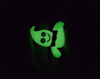 glow in the dark ghost handmade with polymer clay