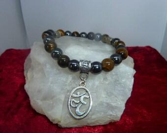Genuine gemstones Tiger eye - HEMATITE bracelet