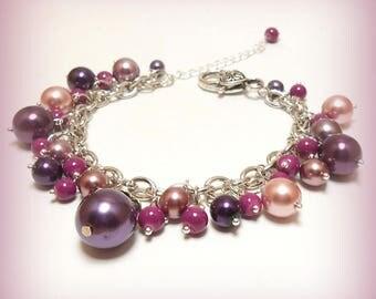 "Bracelet charms pearls ""Purple Pearl."""