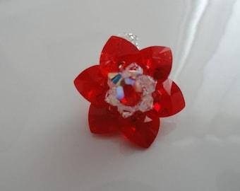 Ring red Passion Crystal Swarovski beads