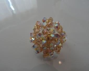 Oval handmade ring Golden Shadow Swarovski Crystal pearls