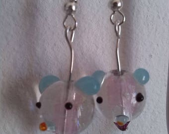 Teddy bear earrings glass Lampwork beads