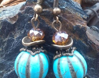 Earrings turquoise blue pumpkin Howlite beads