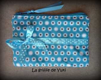 Small turquoise pouch with black lining