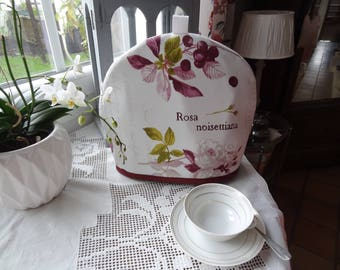 Tea cozy or tea pot warmer fabric La Belle Jardinière lined in thick canvas monnetonnee more grey lining