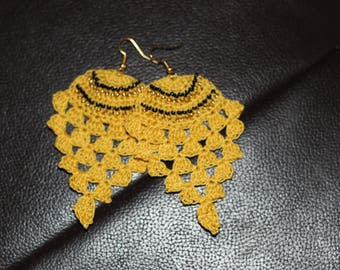 "Earrings crochet spirit ""Pineapple"" (yellow and black)"