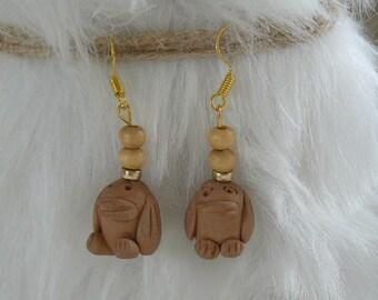 "Earrings original ""fired ceramic statue"""