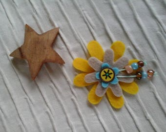 Flowers yellow, blue and beige felt brooch