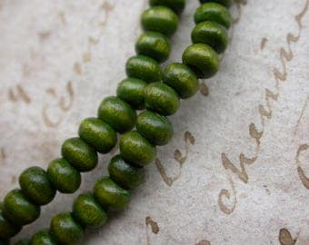 set of 30 5mmenviron 3 green wooden beads