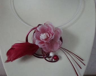 Bridal flower organza plum and white beads, unique necklace, wedding