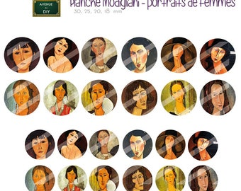 Collage sheet digital Modigliani, to create round cabochons (18 30, 25, 20 mm)