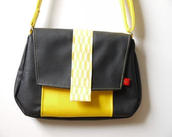 Black and yellow faux leather shoulder bag