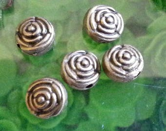 20 silver beads, mother's day gift Making, pink flower, lead and cadmium and nickel