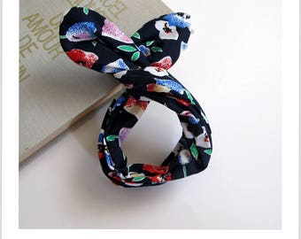 red floral Navy blue cotton topknot headband