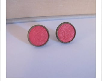 Leather pink barbie fabric Stud Earrings