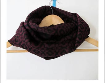 "snood loop scarf black and eggplant ""I'm hot"""