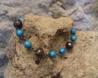"Bracelet ""spring lightness"" blue and grey 1"
