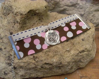 Bracelet double Ribbon with pink